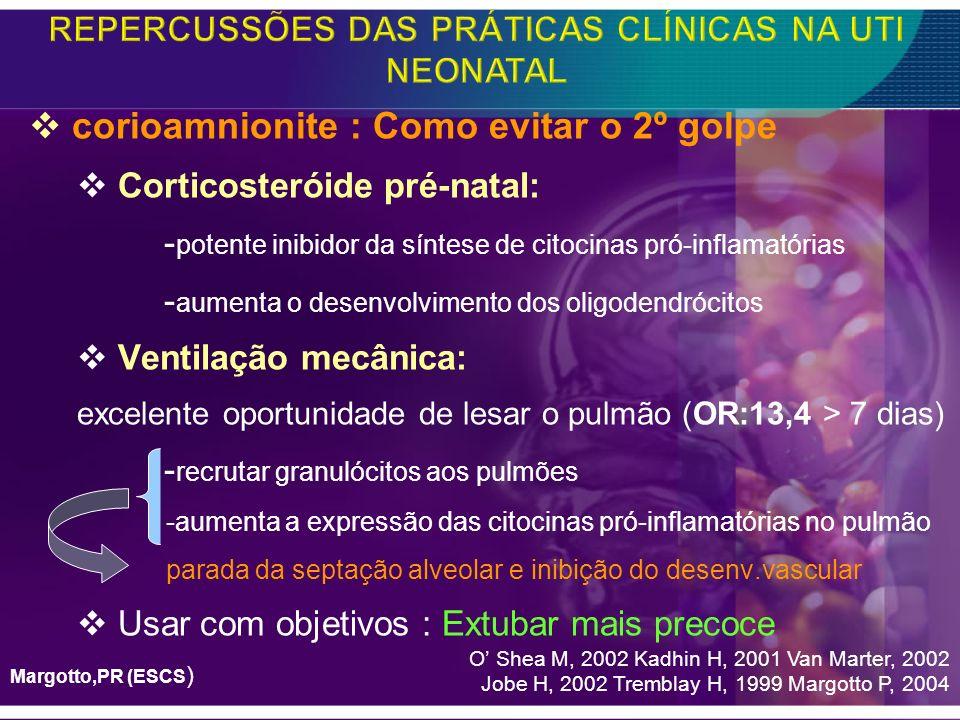 corioamnionite : Como evitar o 2º golpe Corticosteróide pré-natal: - potente inibidor da síntese de citocinas pró-inflamatórias - aumenta o desenvolvi