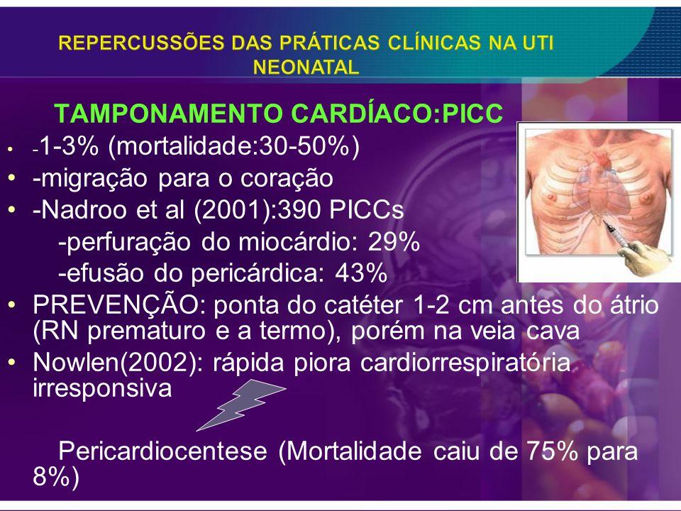 TAMPONAMENTO CARDÍACO:PICC - 1-3% (mortalidade:30-50%) -migração para o coração -Nadroo et al (2001):390 PICCs -perfuração do miocárdio: 29% -efusão d