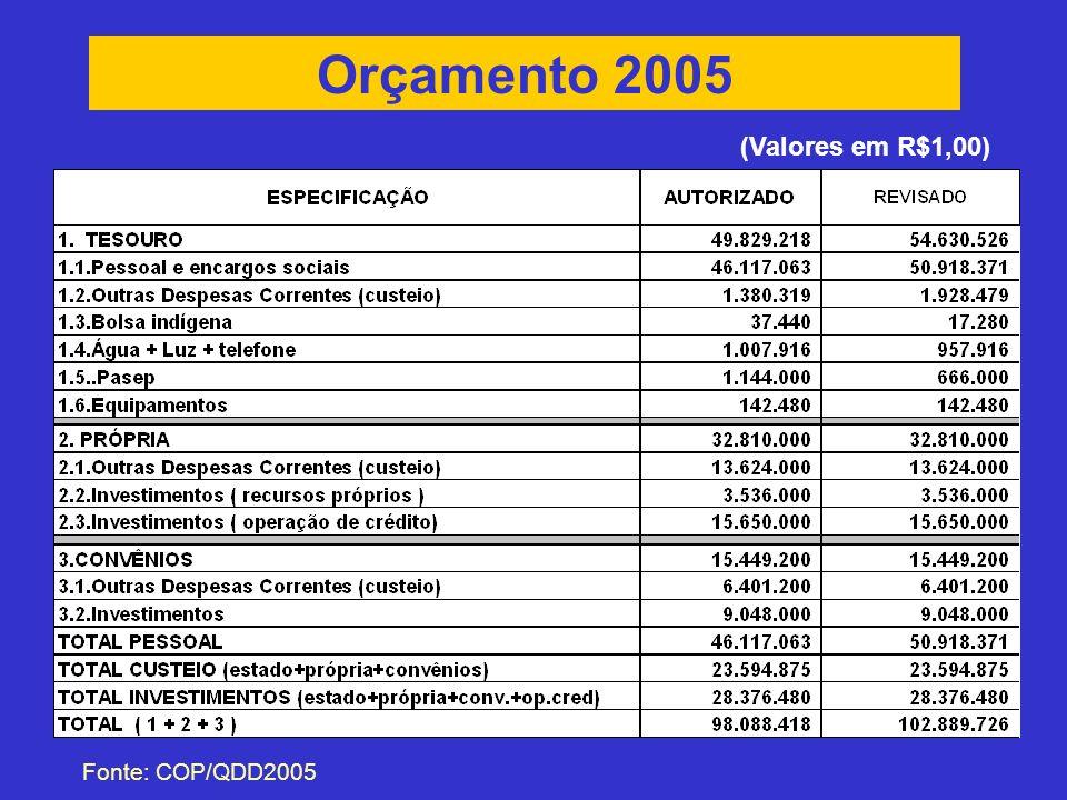 Orçamento 2005 Fonte: COP/QDD2005 (Valores em R$1,00)