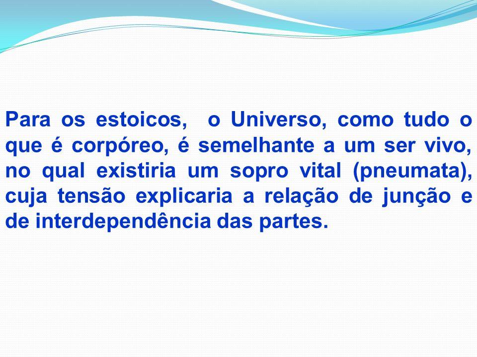 Deste modo, a doutrina panteísta da racionalidade imanente do Ser, princípio e essência do universo, oferece aos estoicos o fundamento absoluto da ideia de um justo por natureza.