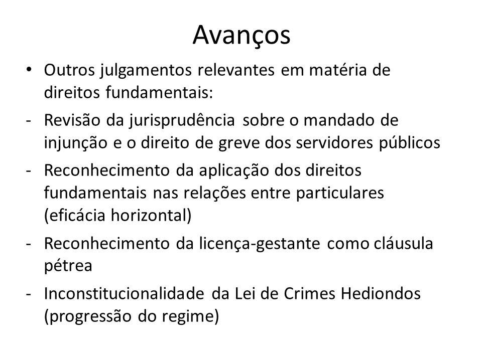 Avanços Outros julgamentos relevantes em matéria de direitos fundamentais: -Revisão da jurisprudência sobre o mandado de injunção e o direito de greve