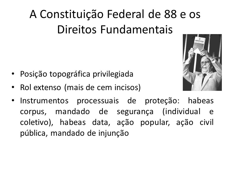 A Constituição Federal de 88 e os Direitos Fundamentais Posição topográfica privilegiada Rol extenso (mais de cem incisos) Instrumentos processuais de