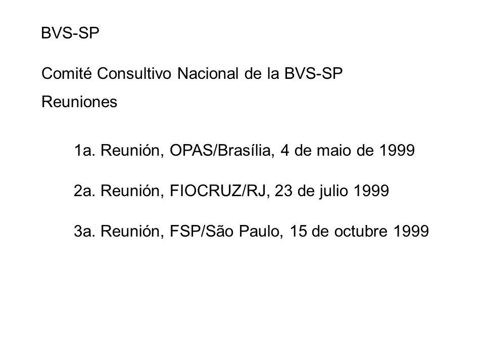 BVS-SP Comité Consultivo Nacional de la BVS-SP 1a. Reunión, OPAS/Brasília, 4 de maio de 1999 2a. Reunión, FIOCRUZ/RJ, 23 de julio 1999 3a. Reunión, FS