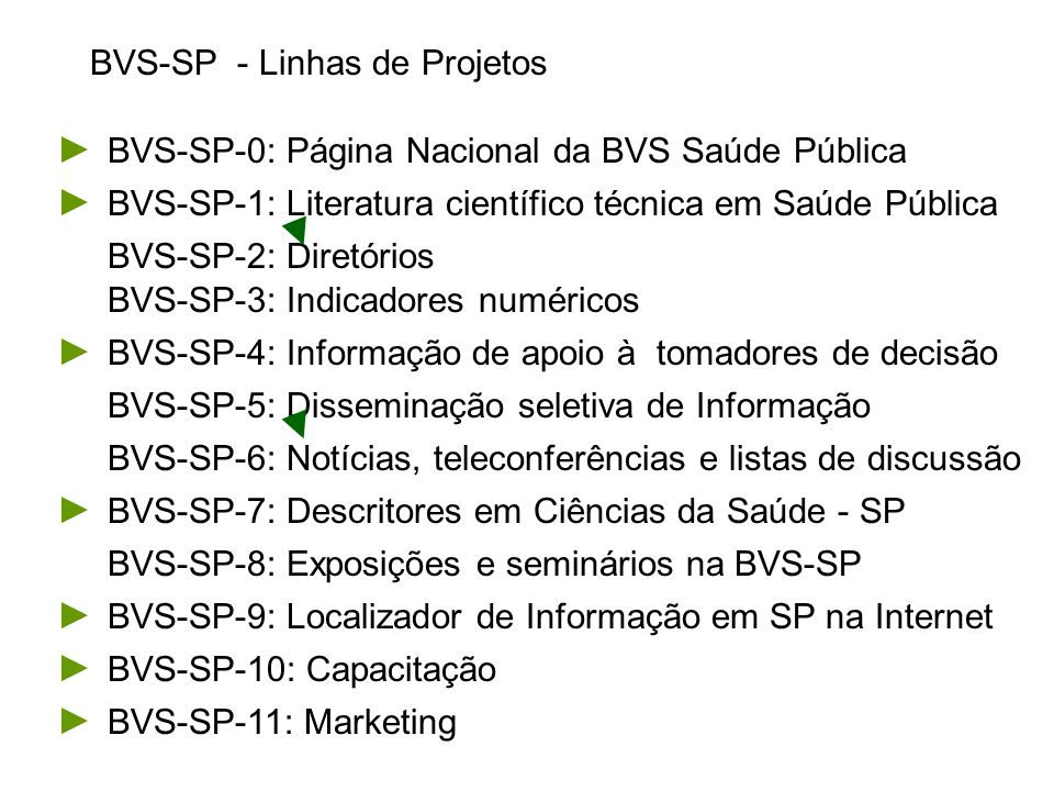 BVS-SP-1: Literatura científico técnica em Saúde Pública BVS-SP-1.1: Controle Bibliográfico da Literatura CT em SP BVS-SP-1.9: Publicação eletrônica de textos completos em SP BVS-SP-1.2: Controle bibliográfico da legislação em saúde BVS-SP-1.3: Operação online de bases de dados bibliográficas BVS-SP-1.4: Operação online dos catálogos de monografias BVS-SP-1.5: Operação online do catálogo de books in print BVS-SP-1.6: Catálogo de Audiovisuais em Saúde Pública BVS-SP-1.7: SeCS - Catálogo Seriados em Ciências da Saúde BVS-SP-1.8: SciELO - Publicação eletrônica de periódicos BVS-SP-1.10: Acesso cooperativo à periódicos internacionais BVS-SP-1.11: SCAD - Acesso cooperativos ao Documento