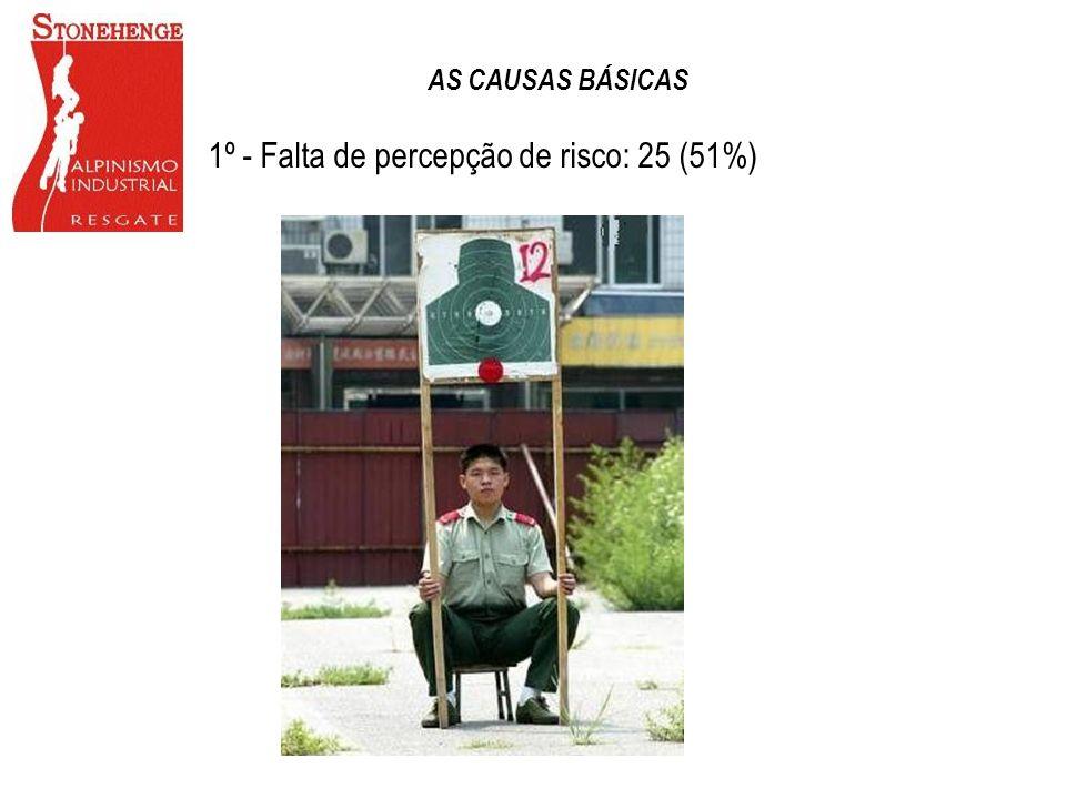 1º - Falta de percepção de risco: 25 (51%) AS CAUSAS BÁSICAS