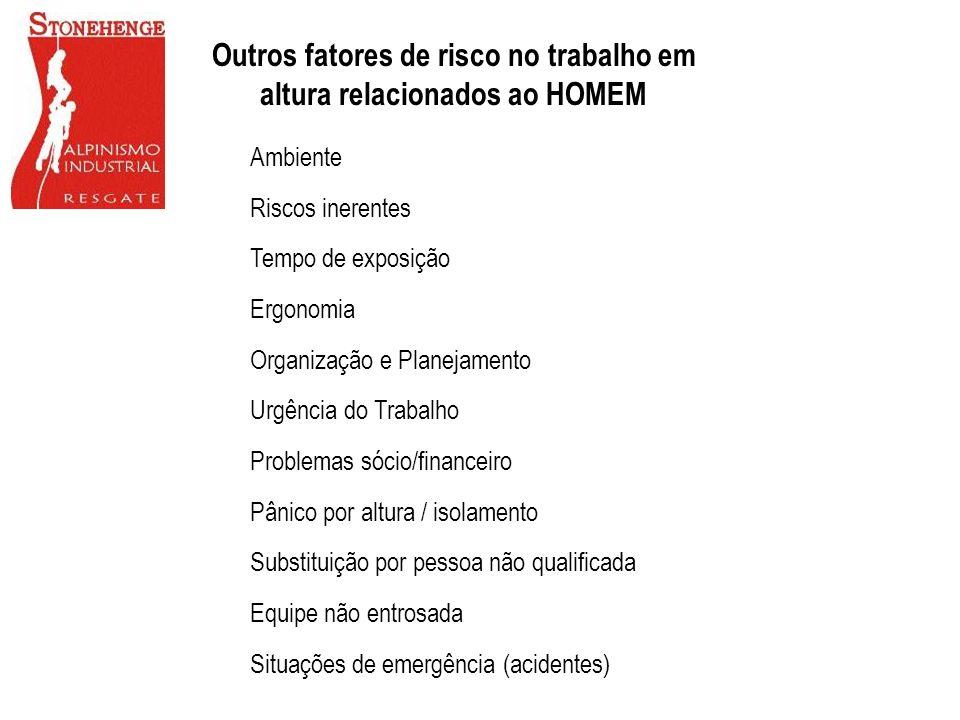 Ambiente Riscos inerentes Tempo de exposição Ergonomia Organização e Planejamento Urgência do Trabalho Problemas sócio/financeiro Pânico por altura /