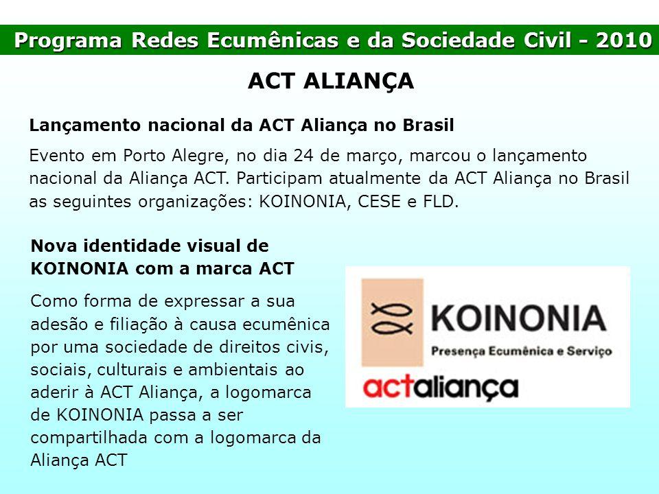 Programa Redes Ecumênicas e da Sociedade Civil- 2010 Programa Redes Ecumênicas e da Sociedade Civil - 2010 ACT ALIANÇA Lançamento nacional da ACT Alia