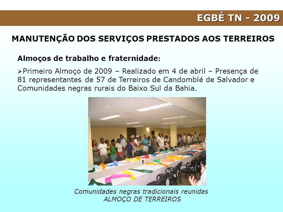 EGBÉ TN - 2009 Almoços de trabalho e fraternidade : Primeiro Almoço de 2009 – Realizado em 4 de abril – Presença de 81 representantes de 57 de Terreir