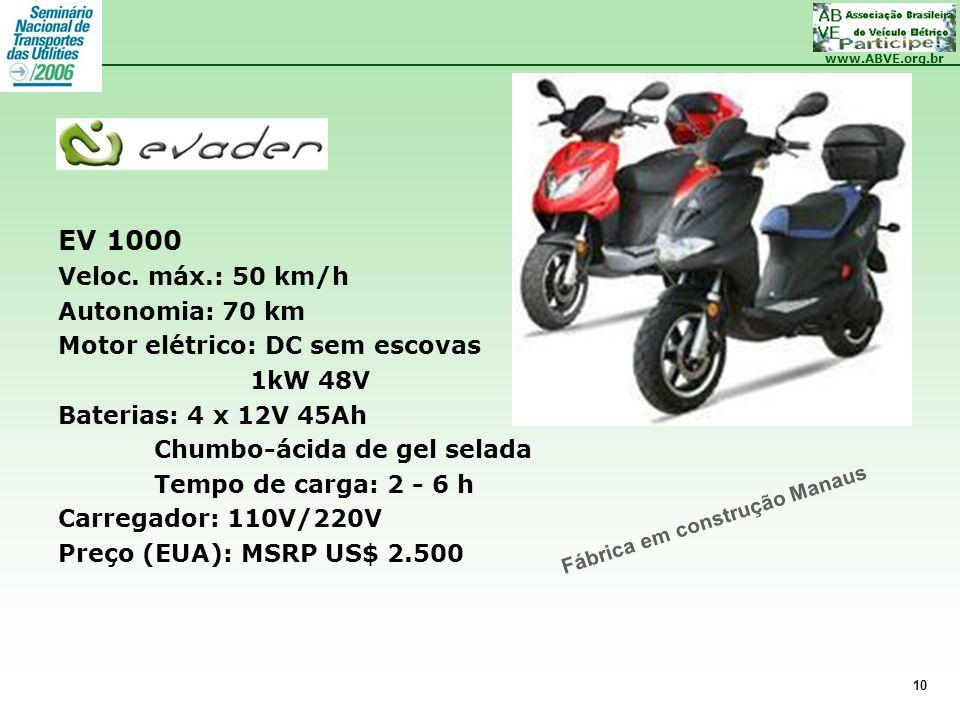 www.ABVE.org.br 10 EV 1000 Veloc. máx.: 50 km/h Autonomia: 70 km Motor elétrico: DC sem escovas 1kW 48V Baterias: 4 x 12V 45Ah Chumbo-ácida de gel sel