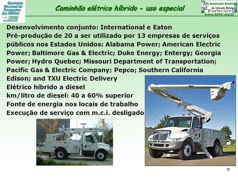 www.ABVE.org.br 15 Desenvolvimento conjunto: International e Eaton Pré-produção de 20 a ser utilizado por 13 empresas de serviços públicos nos Estados