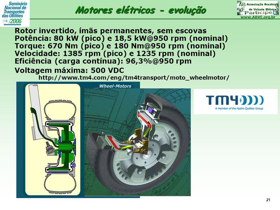 www.ABVE.org.br 21 Motores elétricos - evolução Rotor invertido, ímãs permanentes, sem escovas Potência: 80 kW (pico) e 18,5 kW@950 rpm (nominal) Torq