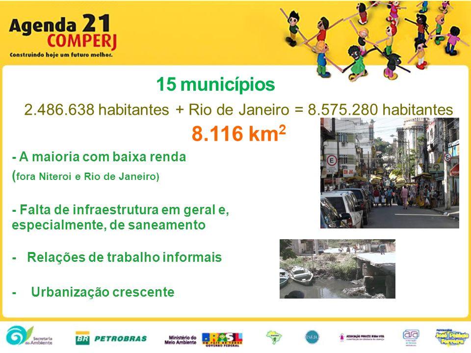 15 municípios 2.486.638 habitantes + Rio de Janeiro = 8.575.280 habitantes 8.116 km 2 - A maioria com baixa renda ( fora Niteroi e Rio de Janeiro) - F