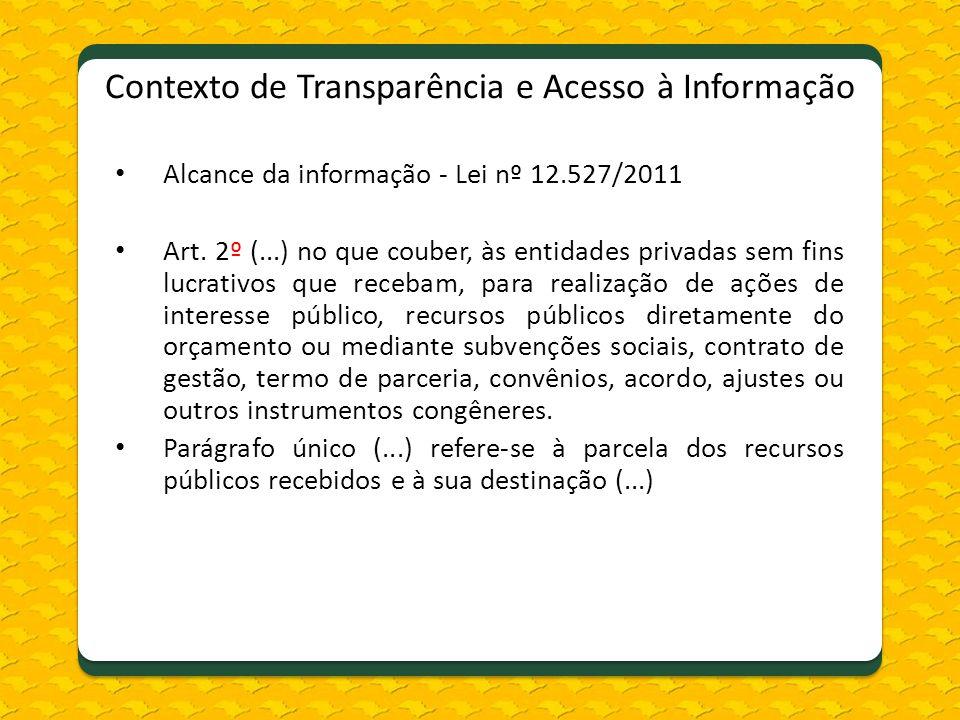 Contexto de Transparência e Acesso à Informação Alcance da informação - Lei nº 12.527/2011 Art. 2º (...) no que couber, às entidades privadas sem fins