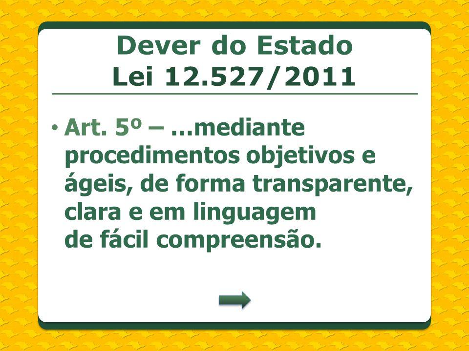 Dever do Estado Lei 12.527/2011 Art. 5º – …mediante procedimentos objetivos e ágeis, de forma transparente, clara e em linguagem de fácil compreensão.