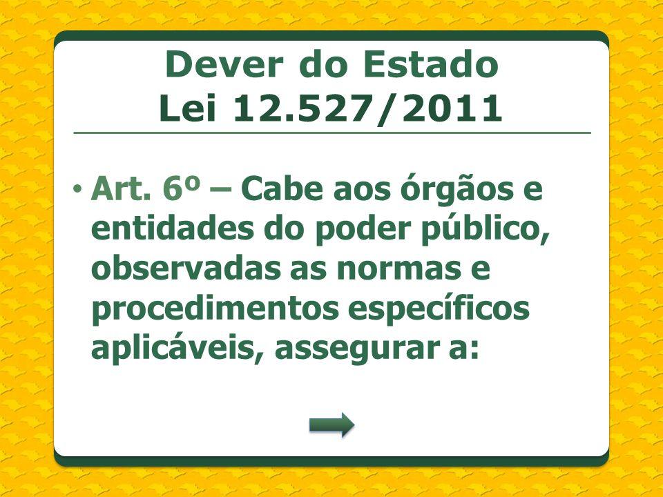 Dever do Estado Lei 12.527/2011 Art. 6º – Cabe aos órgãos e entidades do poder público, observadas as normas e procedimentos específicos aplicáveis, a