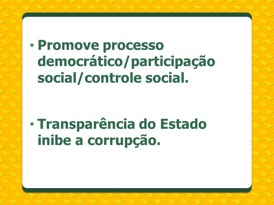 Promove processo democrático/participação social/controle social. Transparência do Estado inibe a corrupção.