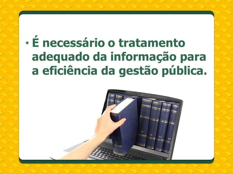 É necessário o tratamento adequado da informação para a eficiência da gestão pública.