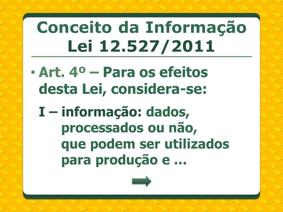 Conceito da Informação Lei 12.527/2011 Art. 4º – Para os efeitos desta Lei, considera-se: I – informação: dados, processados ou não, que podem ser uti