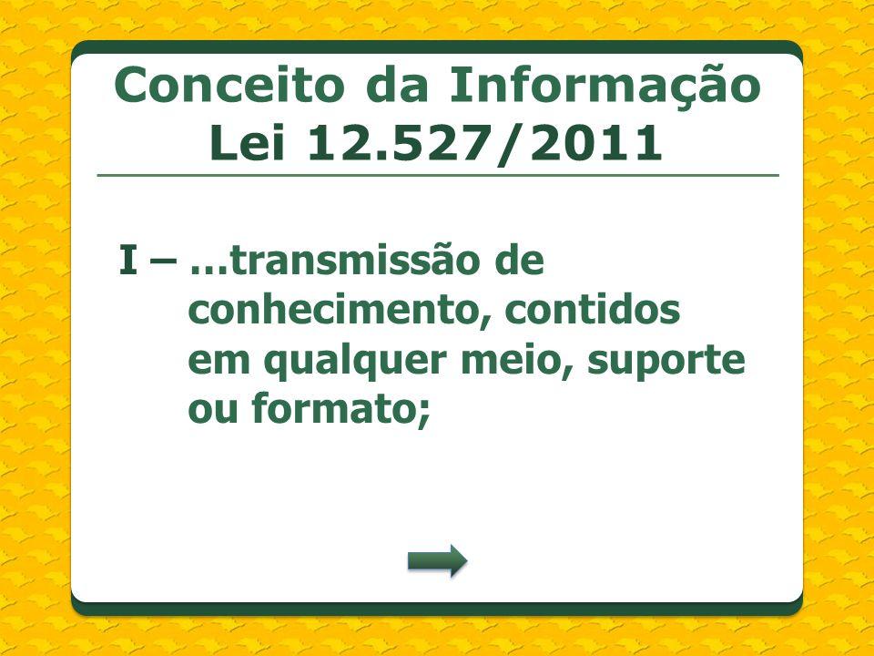 Conceito da Informação Lei 12.527/2011 I – …transmissão de conhecimento, contidos em qualquer meio, suporte ou formato;