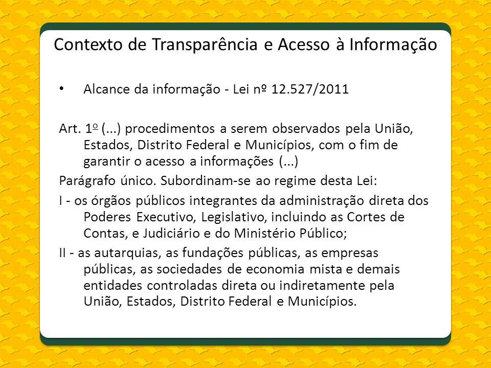 Contexto de Transparência e Acesso à Informação Alcance da informação - Lei nº 12.527/2011 Art. 1 o (...) procedimentos a serem observados pela União,