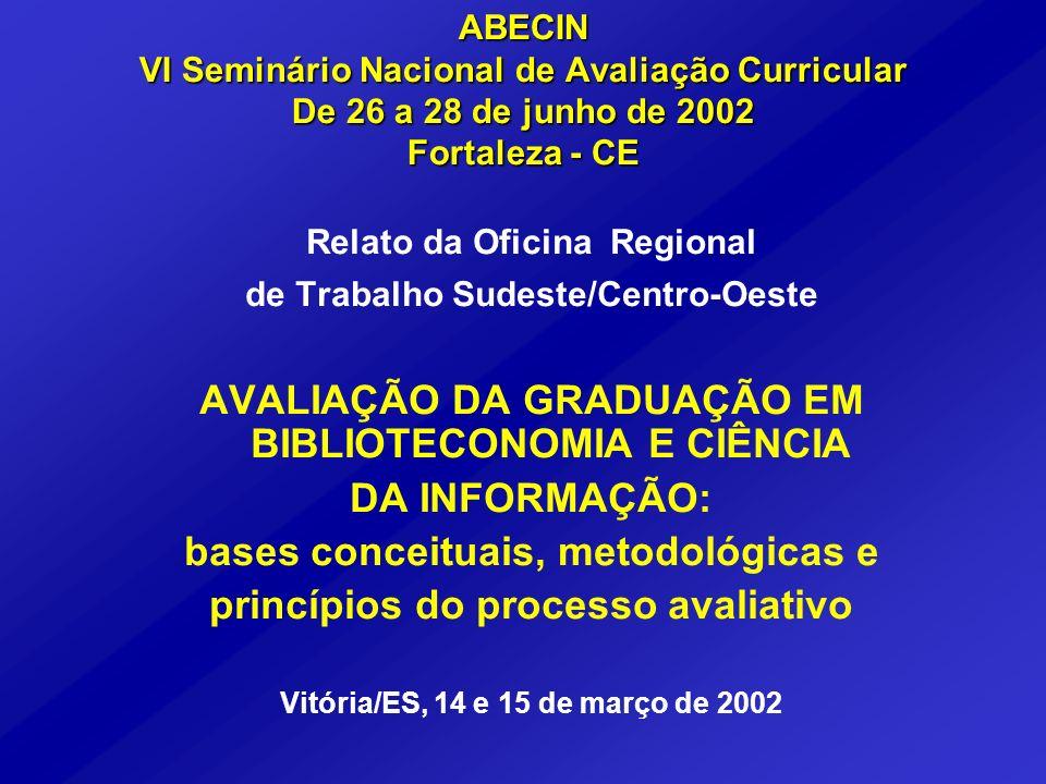 ABECIN VI Seminário Nacional de Avaliação Curricular De 26 a 28 de junho de 2002 Fortaleza - CE Relato da Oficina Regional de Trabalho Sudeste/Centro-
