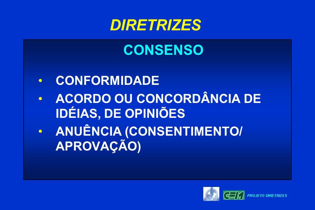 DIRETRIZES CONSENSO CONFORMIDADE ACORDO OU CONCORDÂNCIA DE IDÉIAS, DE OPINIÕES ANUÊNCIA (CONSENTIMENTO/ APROVAÇÃO)