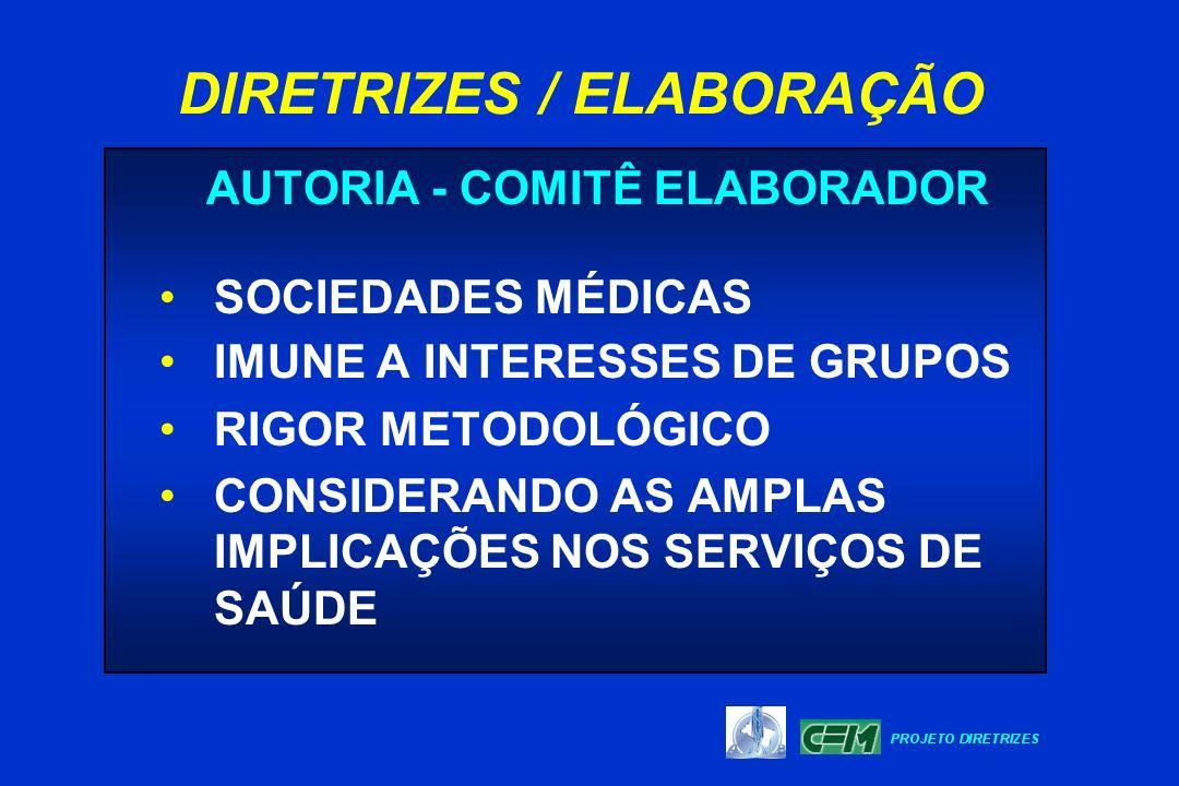 AUTORIA - COMITÊ ELABORADOR SOCIEDADES MÉDICAS IMUNE A INTERESSES DE GRUPOS RIGOR METODOLÓGICO CONSIDERANDO AS AMPLAS IMPLICAÇÕES NOS SERVIÇOS DE SAÚD