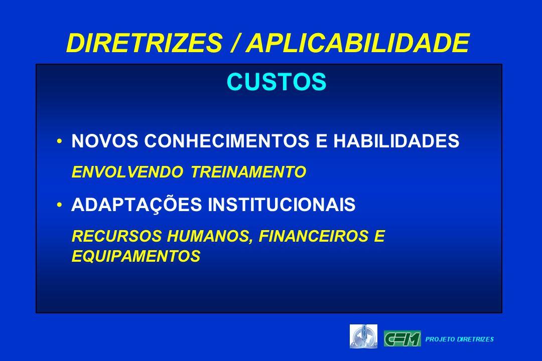 CUSTOS NOVOS CONHECIMENTOS E HABILIDADES ENVOLVENDO TREINAMENTO ADAPTAÇÕES INSTITUCIONAIS RECURSOS HUMANOS, FINANCEIROS E EQUIPAMENTOS DIRETRIZES / AP