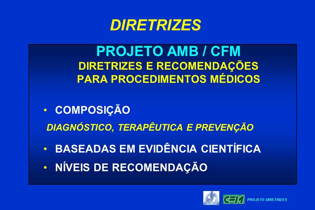 PROJETO AMB / CFM DIRETRIZES E RECOMENDAÇÕES PARA PROCEDIMENTOS MÉDICOS COMPOSIÇÃO DIAGNÓSTICO, TERAPÊUTICA E PREVENÇÃO BASEADAS EM EVIDÊNCIA CIENTÍFI