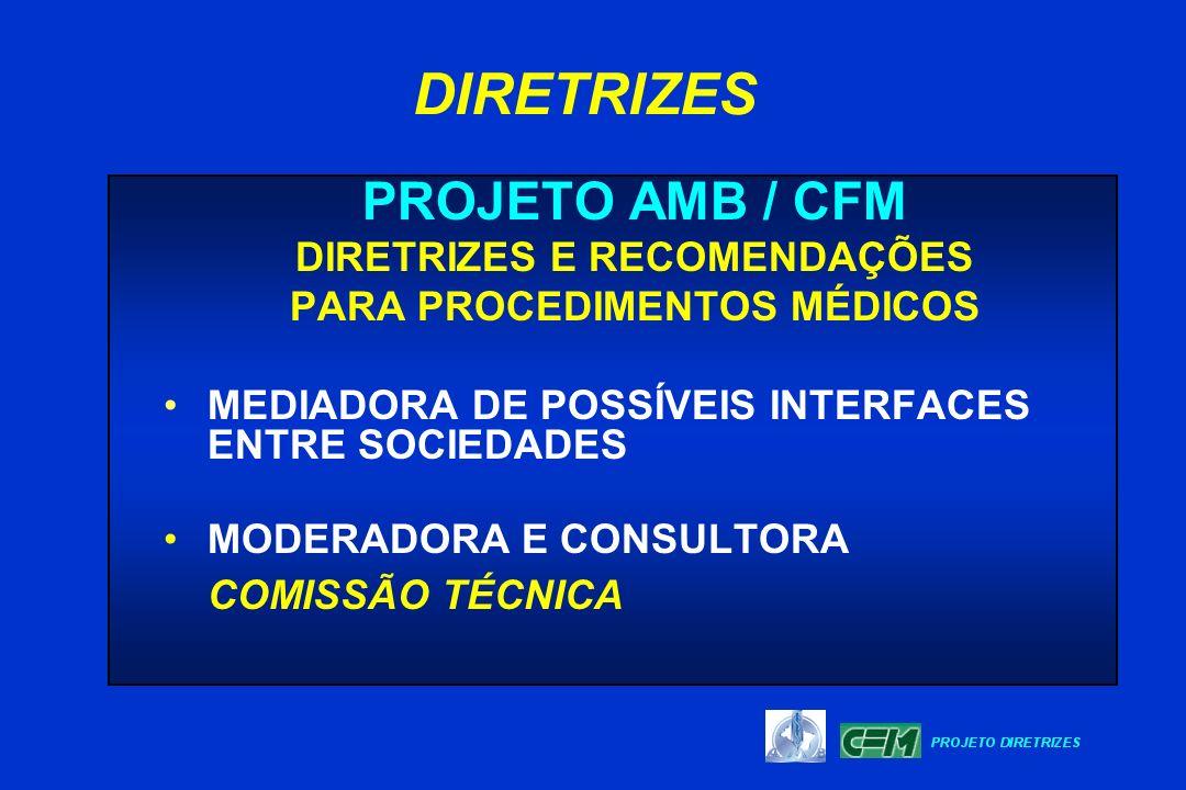 PROJETO AMB / CFM DIRETRIZES E RECOMENDAÇÕES PARA PROCEDIMENTOS MÉDICOS MEDIADORA DE POSSÍVEIS INTERFACES ENTRE SOCIEDADES MODERADORA E CONSULTORA COM