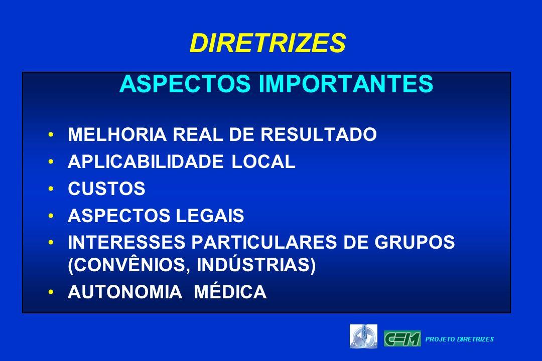 ASPECTOS IMPORTANTES MELHORIA REAL DE RESULTADO APLICABILIDADE LOCAL CUSTOS ASPECTOS LEGAIS INTERESSES PARTICULARES DE GRUPOS (CONVÊNIOS, INDÚSTRIAS)