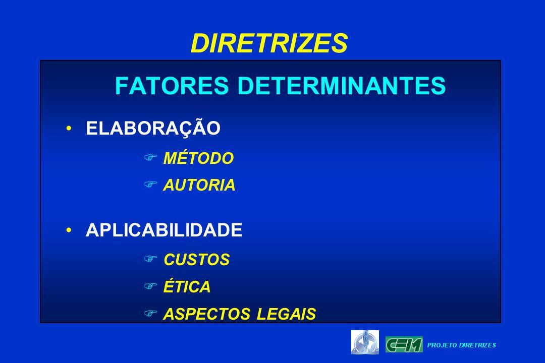 FATORES DETERMINANTES ELABORAÇÃO F MÉTODO F AUTORIA APLICABILIDADE F CUSTOS F ÉTICA F ASPECTOS LEGAIS DIRETRIZES