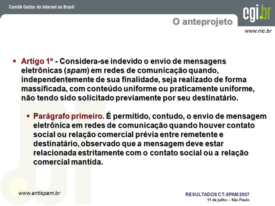 www.antispam.br www.nic.br RESULTADOS CT-SPAM 2007 11 de julho – São Paulo O anteprojeto Artigo 1º - Considera-se indevido o envio de mensagens eletrô