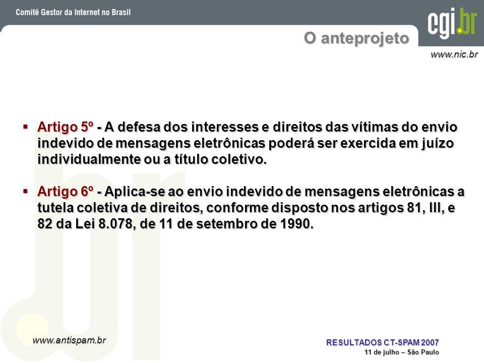 www.antispam.br www.nic.br RESULTADOS CT-SPAM 2007 11 de julho – São Paulo O anteprojeto Artigo 5º - A defesa dos interesses e direitos das vítimas do