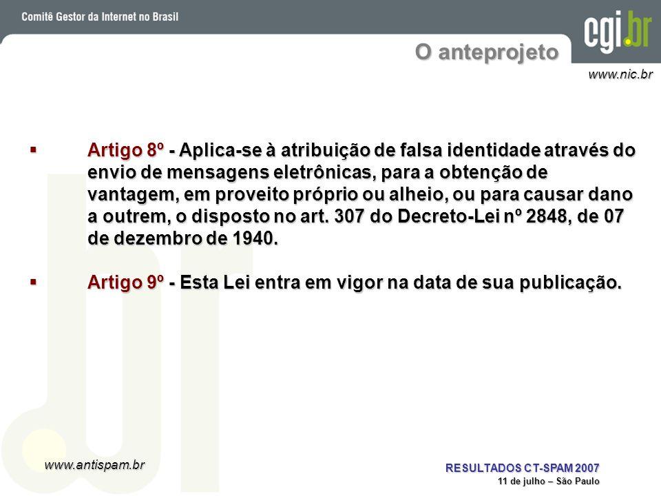 www.antispam.br www.nic.br RESULTADOS CT-SPAM 2007 11 de julho – São Paulo O anteprojeto Artigo 8º - Aplica-se à atribuição de falsa identidade atravé