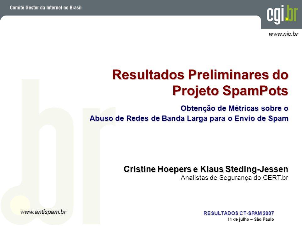 www.antispam.br www.nic.br RESULTADOS CT-SPAM 2007 11 de julho – São Paulo Resultados Preliminares do Projeto SpamPots Obtenção de Métricas sobre o Ab