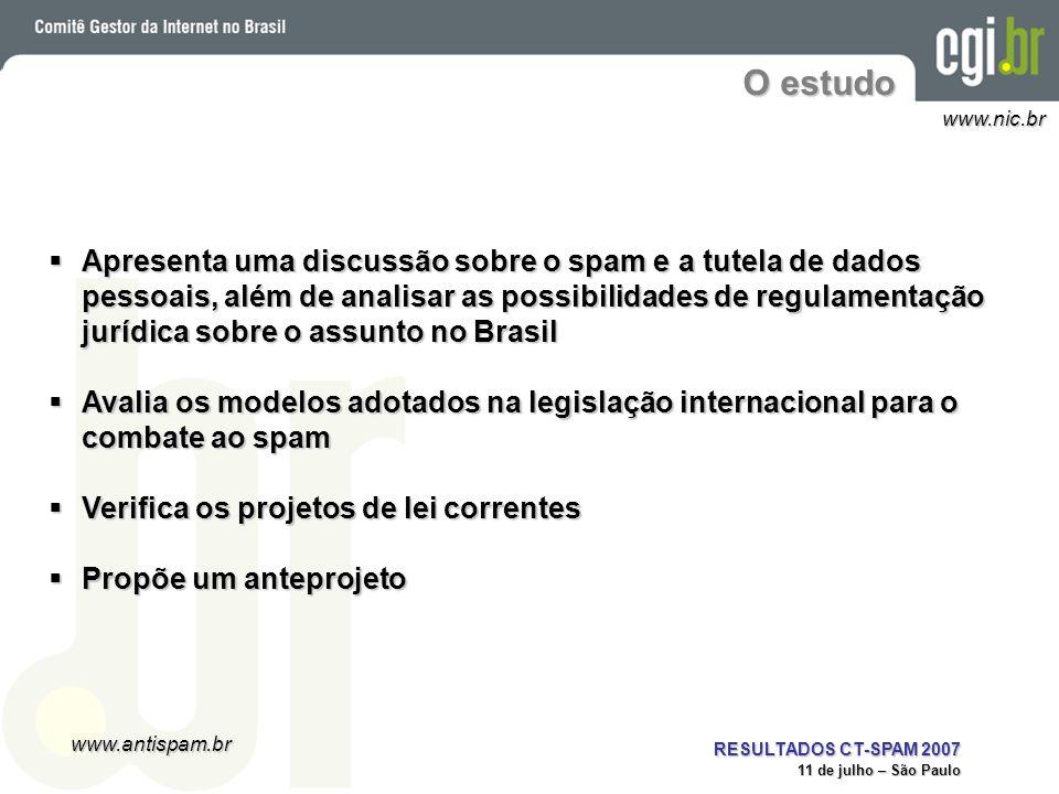www.antispam.br www.nic.br RESULTADOS CT-SPAM 2007 11 de julho – São Paulo O Projeto SpamPots Objetivos: Ter métricas nacionais sobre o abuso de computadores com proxies abertos sendo usados para o envio de spam, procurando determinar:Ter métricas nacionais sobre o abuso de computadores com proxies abertos sendo usados para o envio de spam, procurando determinar: –Origem –Tipos de abuso –Idiomas, tipos de spam, etc Ter dados para auxiliar a proposição e adoção de políticas e boas práticas anti-spam nas redes brasileiras Ter dados para auxiliar a proposição e adoção de políticas e boas práticas anti-spam nas redes brasileirasEstrutura: 10 sensores simulando proxies abertos 10 sensores simulando proxies abertos –Contradas conexões em 5 operadoras de banda larga 1 conexão residencial e 1 empresarial por operadora1 conexão residencial e 1 empresarial por operadora –Coletando os emails injetados pelos spammers –Não entregam os spams