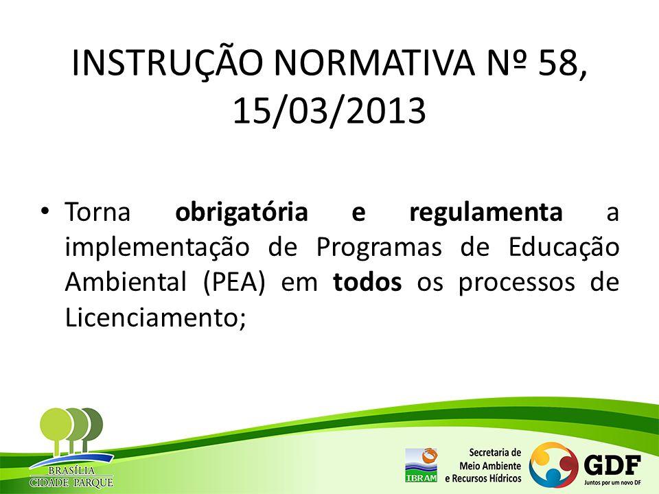 INSTRUÇÃO NORMATIVA Nº 58, 15/03/2013 Torna obrigatória e regulamenta a implementação de Programas de Educação Ambiental (PEA) em todos os processos d