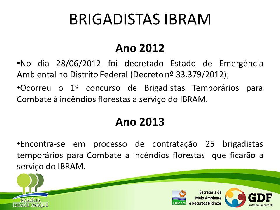 BRIGADISTAS IBRAM Ano 2012 No dia 28/06/2012 foi decretado Estado de Emergência Ambiental no Distrito Federal (Decreto nº 33.379/2012); Ocorreu o 1º c