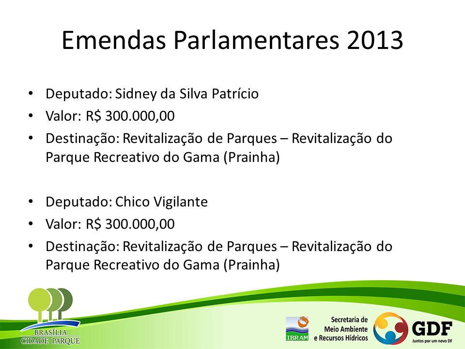 Emendas Parlamentares 2013 Deputado: Sidney da Silva Patrício Valor: R$ 300.000,00 Destinação: Revitalização de Parques – Revitalização do Parque Recr