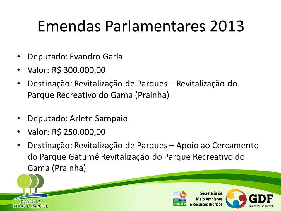 Emendas Parlamentares 2013 Deputado: Evandro Garla Valor: R$ 300.000,00 Destinação: Revitalização de Parques – Revitalização do Parque Recreativo do G