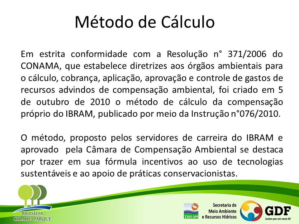 Método de Cálculo Em estrita conformidade com a Resolução n° 371/2006 do CONAMA, que estabelece diretrizes aos órgãos ambientais para o cálculo, cobra
