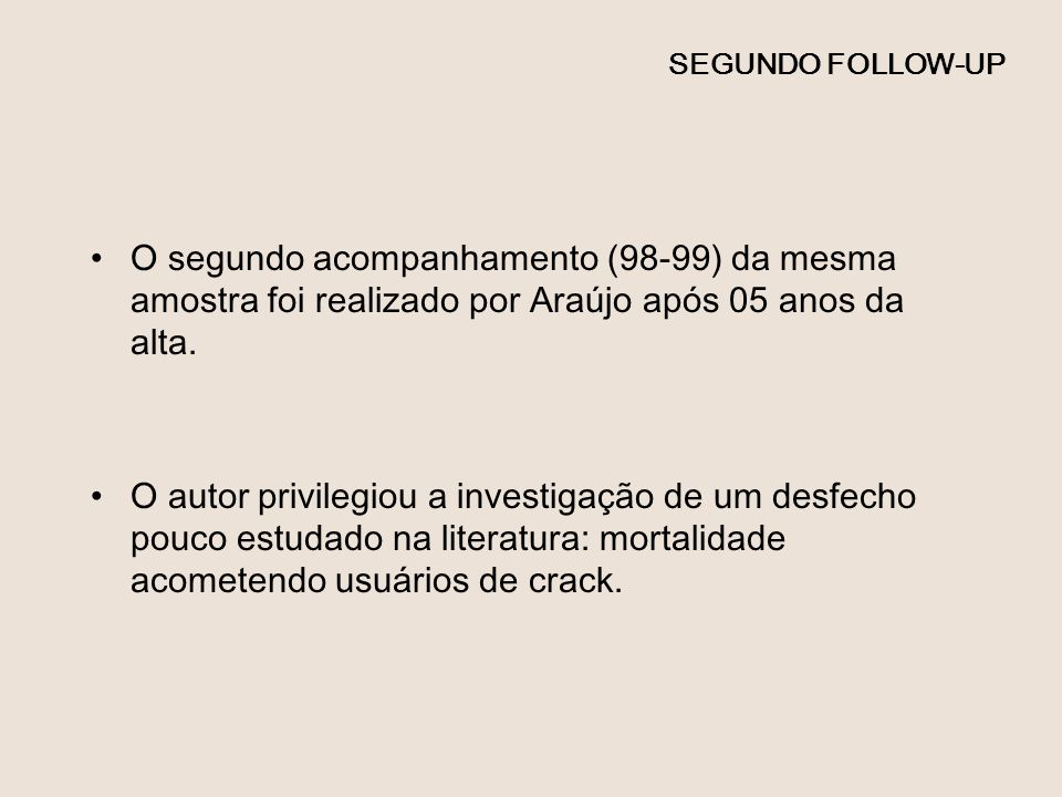 SEGUNDO FOLLOW-UP O segundo acompanhamento (98-99) da mesma amostra foi realizado por Araújo após 05 anos da alta. O autor privilegiou a investigação