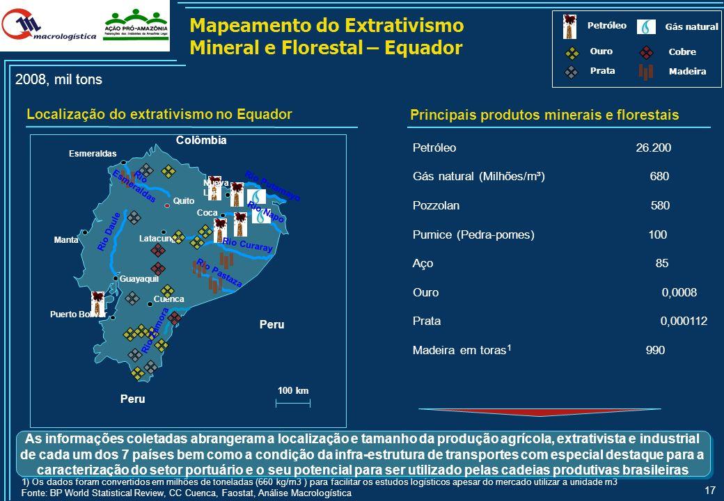 16 Fonte: DNIT, análise Macrologística Mapeamento dos corredores potenciais internacionais na Amazônia Legal Na segunda fase, analisou-se o potencial