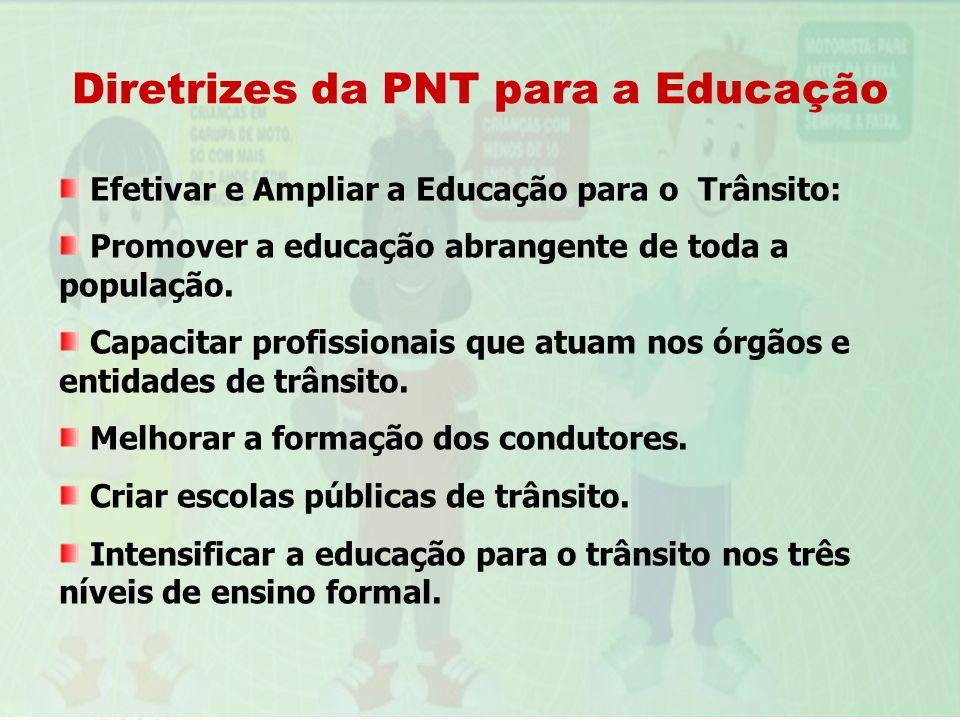 Diretrizes da PNT para a Educação Efetivar e Ampliar a Educação para o Trânsito: Promover a educação abrangente de toda a população. Capacitar profiss