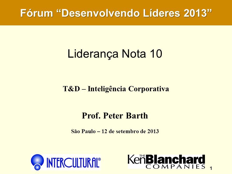 T&D – Inteligência Corporativa 1 Prof. Peter Barth São Paulo – 12 de setembro de 2013 Fórum Desenvolvendo Líderes 2013 Liderança Nota 10