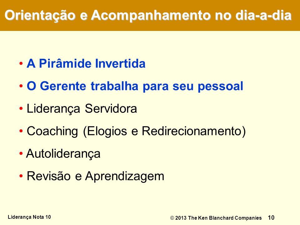 Liderança Nota 10 10 A Pirâmide Invertida O Gerente trabalha para seu pessoal Liderança Servidora Coaching (Elogios e Redirecionamento) Autoliderança