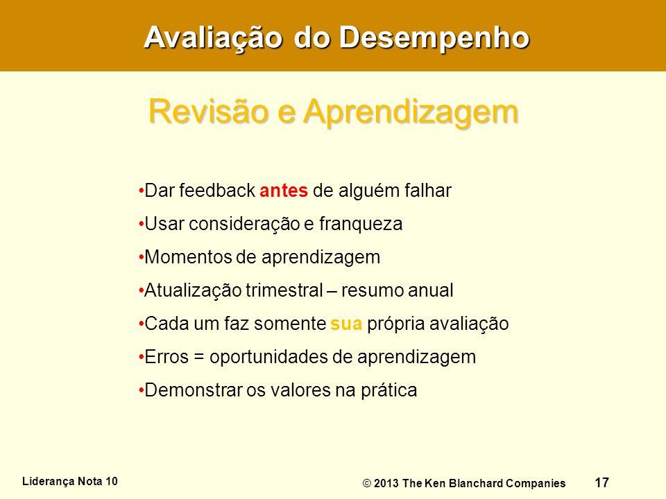 Avaliação do Desempenho Avaliação do Desempenho Liderança Nota 10 17 Dar feedback antes de alguém falhar Usar consideração e franqueza Momentos de apr