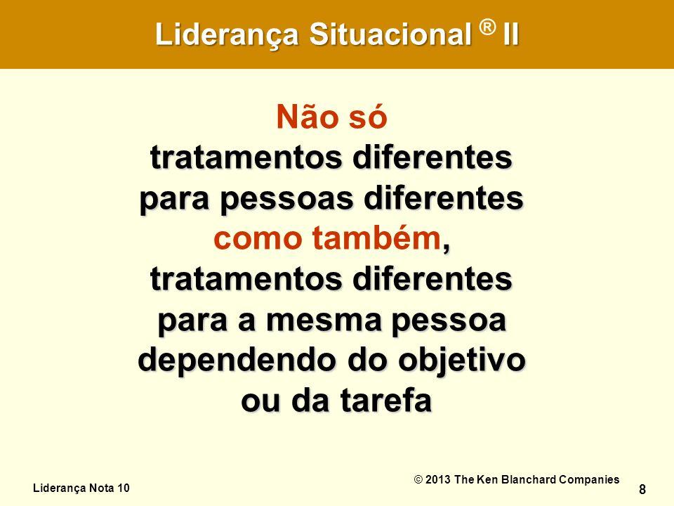 O Desafio da Autoliderança 8 Liderança SituacionalII Liderança Situacional ® II Liderança Nota 10 © 2013 The Ken Blanchard Companies 8 tratamentos dif