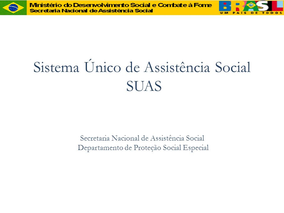 Sistema Único de Assistência Social SUAS Secretaria Nacional de Assistência Social Departamento de Proteção Social Especial